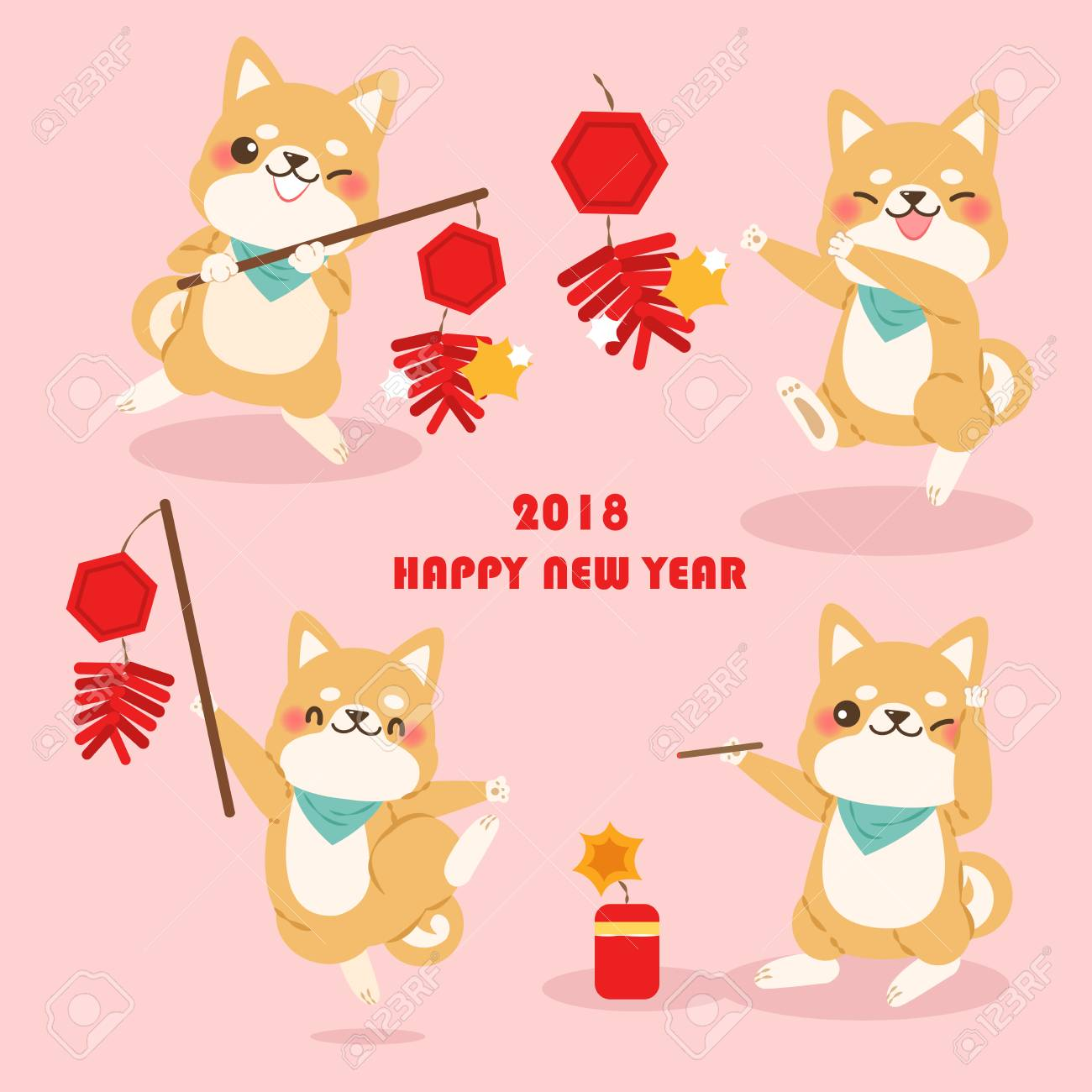 cute cartoon dog with 2018 new year background on pink background stock vector 90370041