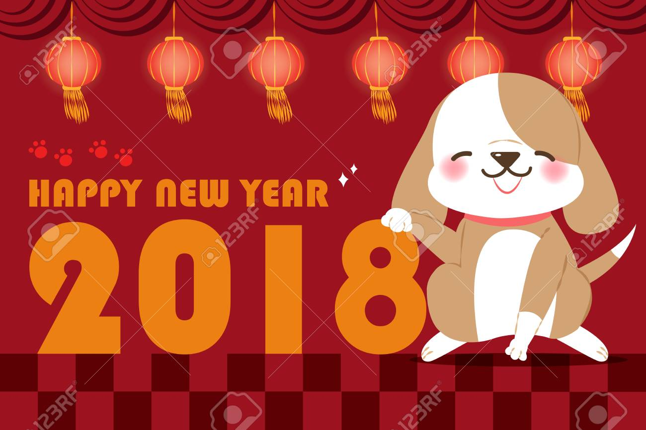 cute cartoon dog with 2018 new year background on checkered background stock vector 90370048