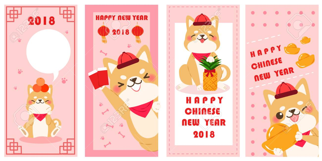 cute cartoon dog with 2018 new year background on pink background stock vector 90370051