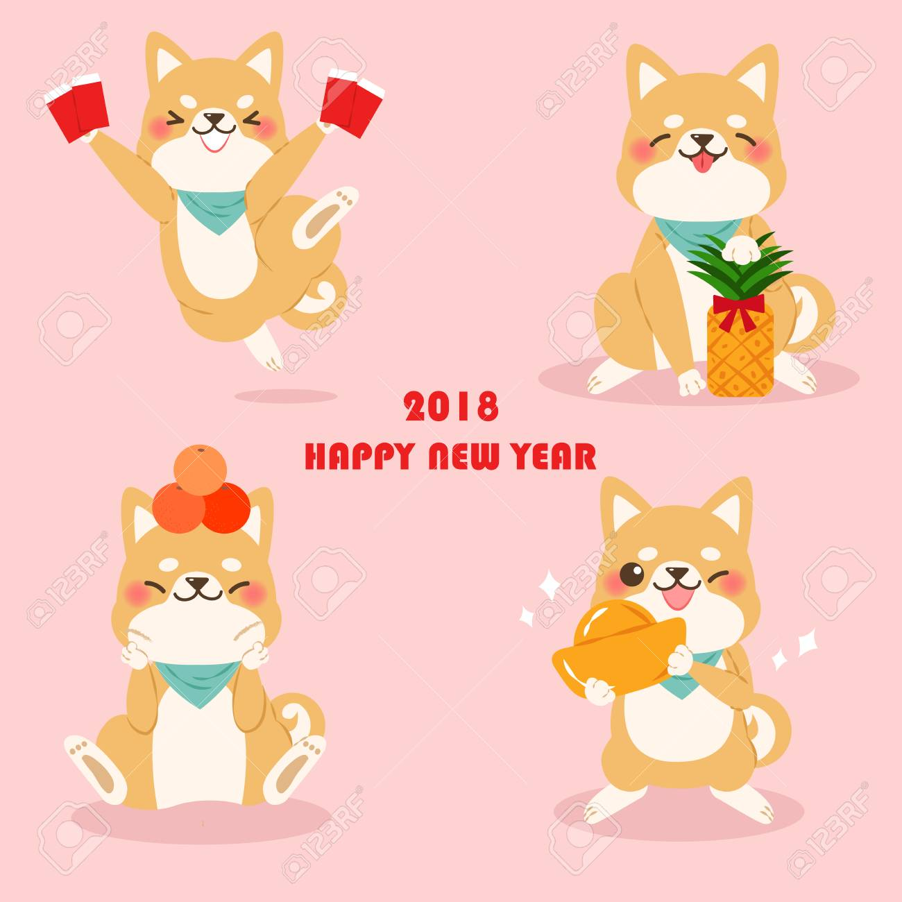 cute cartoon dog with 2018 new year background on pink background stock vector 90370057
