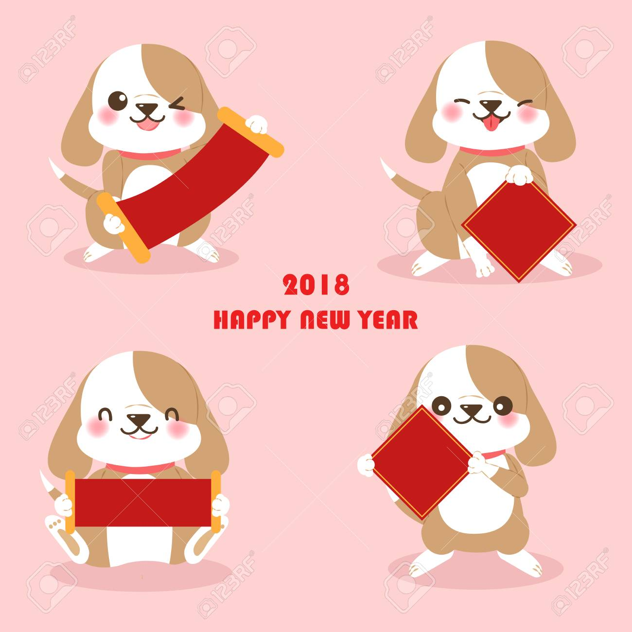 cute cartoon dog with for 2018 new year background on the pink background stock vector
