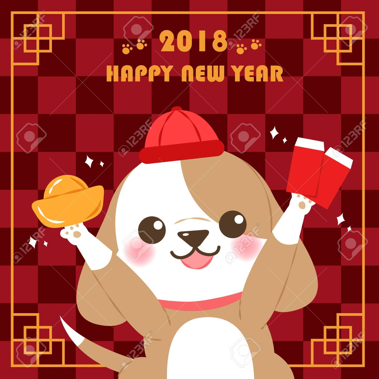 cute cartoon dog for 2018 new year background on the checkered background stock vector 90369854