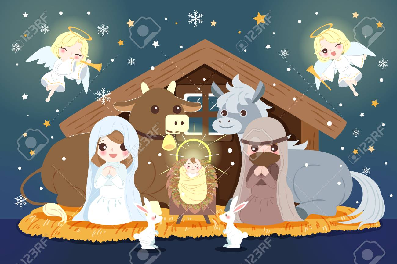 Christmas Nativity.Cartoon Christmas Nativity Scene With Baby Jesus