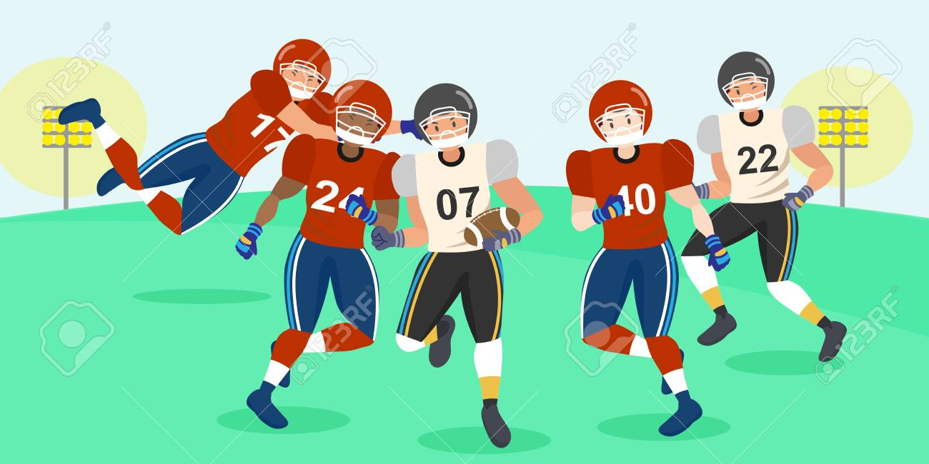 Cartoon American Football Players Vector Design Royalty Free Cliparts Vectors And Stock Illustration Image 91176757