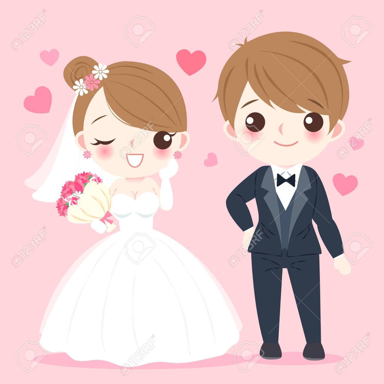 Cute cartoon illustration of married couple on pink background - 92042085