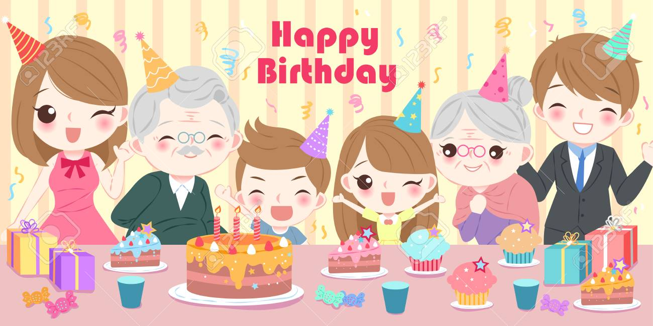 Cute Cartoon Family With Happy Birthday Party Royalty Free Cliparts Vectors And Stock Illustration Image 92298557