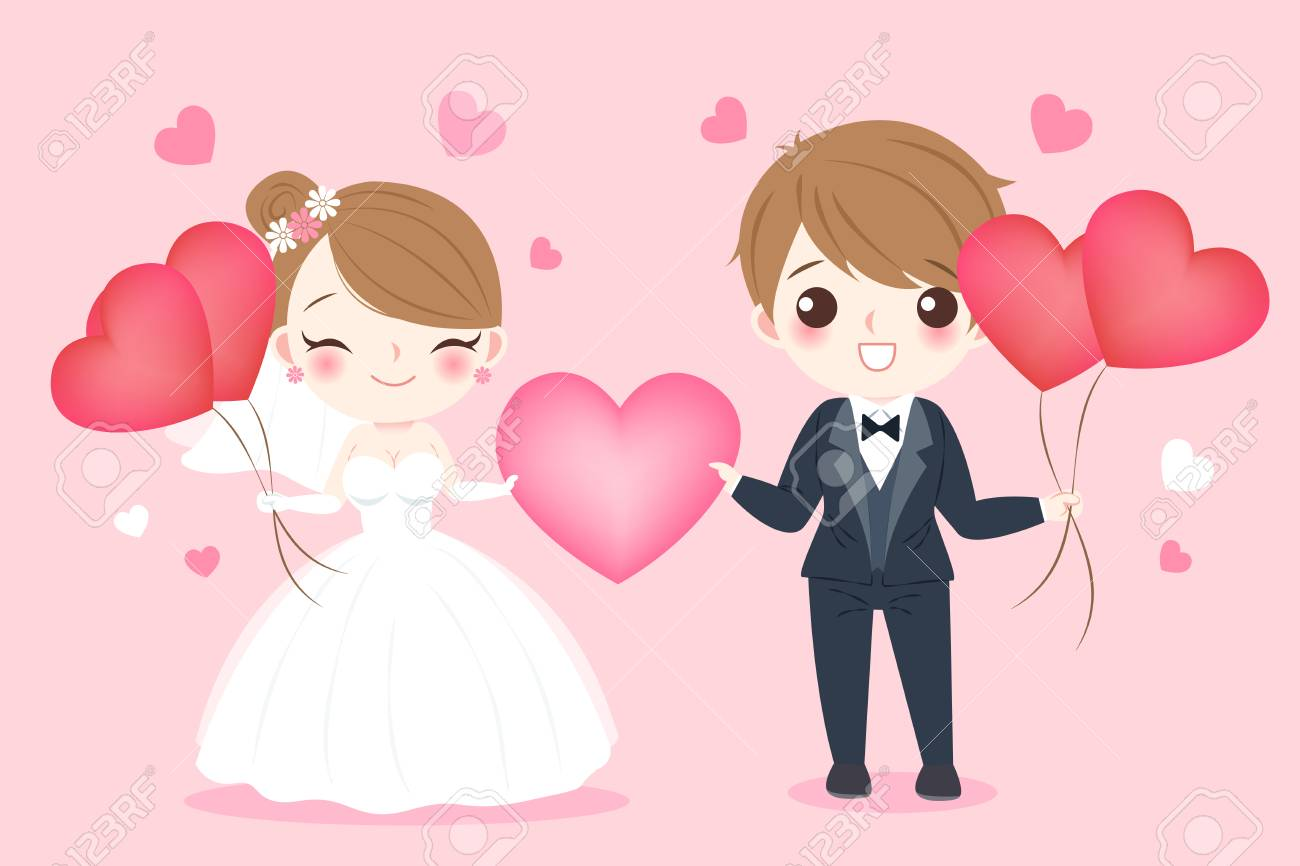 Cute Cartoon Wedding People Smile Happily On The Pink Background Royalty Free Cliparts Vectors And Stock Illustration Image 92367354