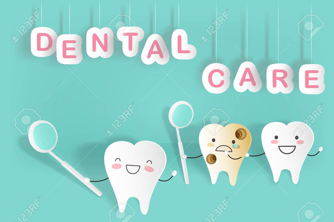 Cute Cartoon Tooth With Dental Care On The Green Background Royalty Free Cliparts Vectors And Stock Illustration Image 93168787