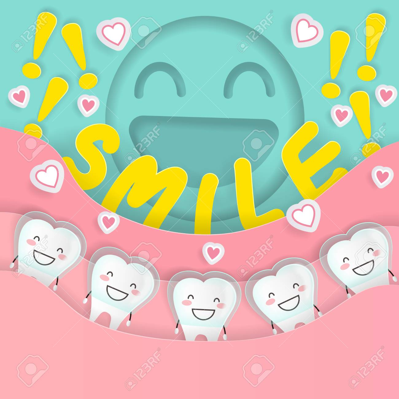 Cute Cartoon Tooth With Braces Concept On The Green Background ...