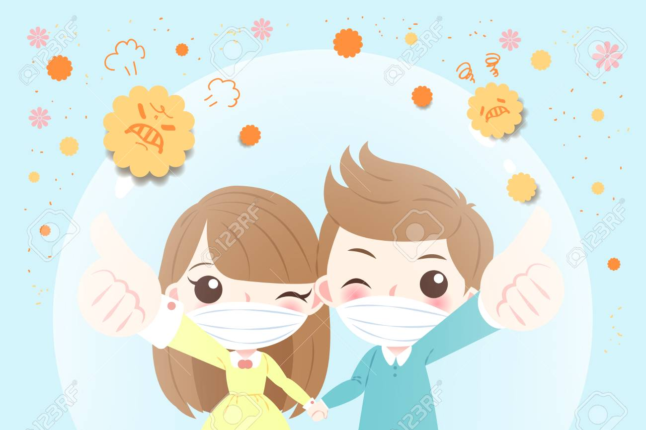 cartoon child with hay fever concept on the blue background - 94352569