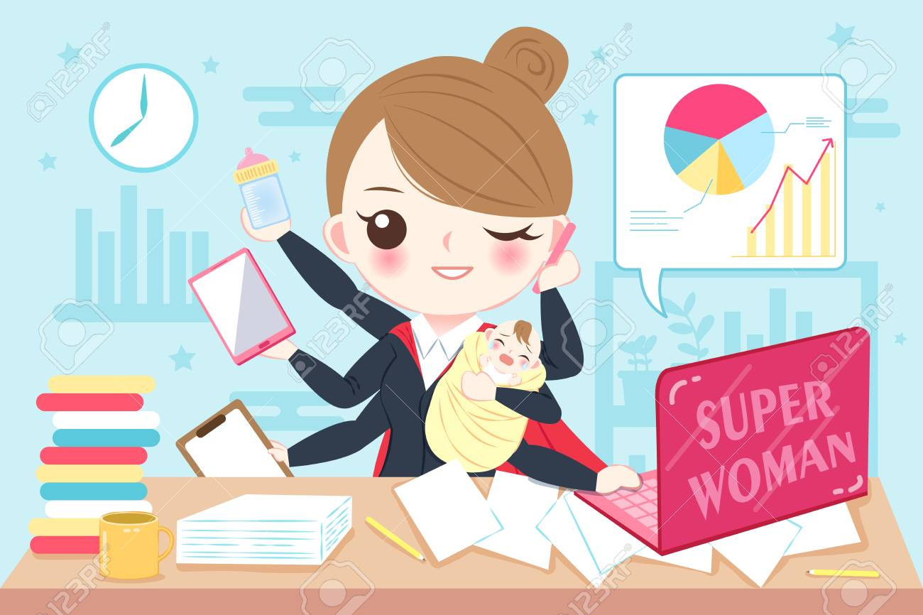 Cartoon Super Business Woman Work In The Office Royalty Free