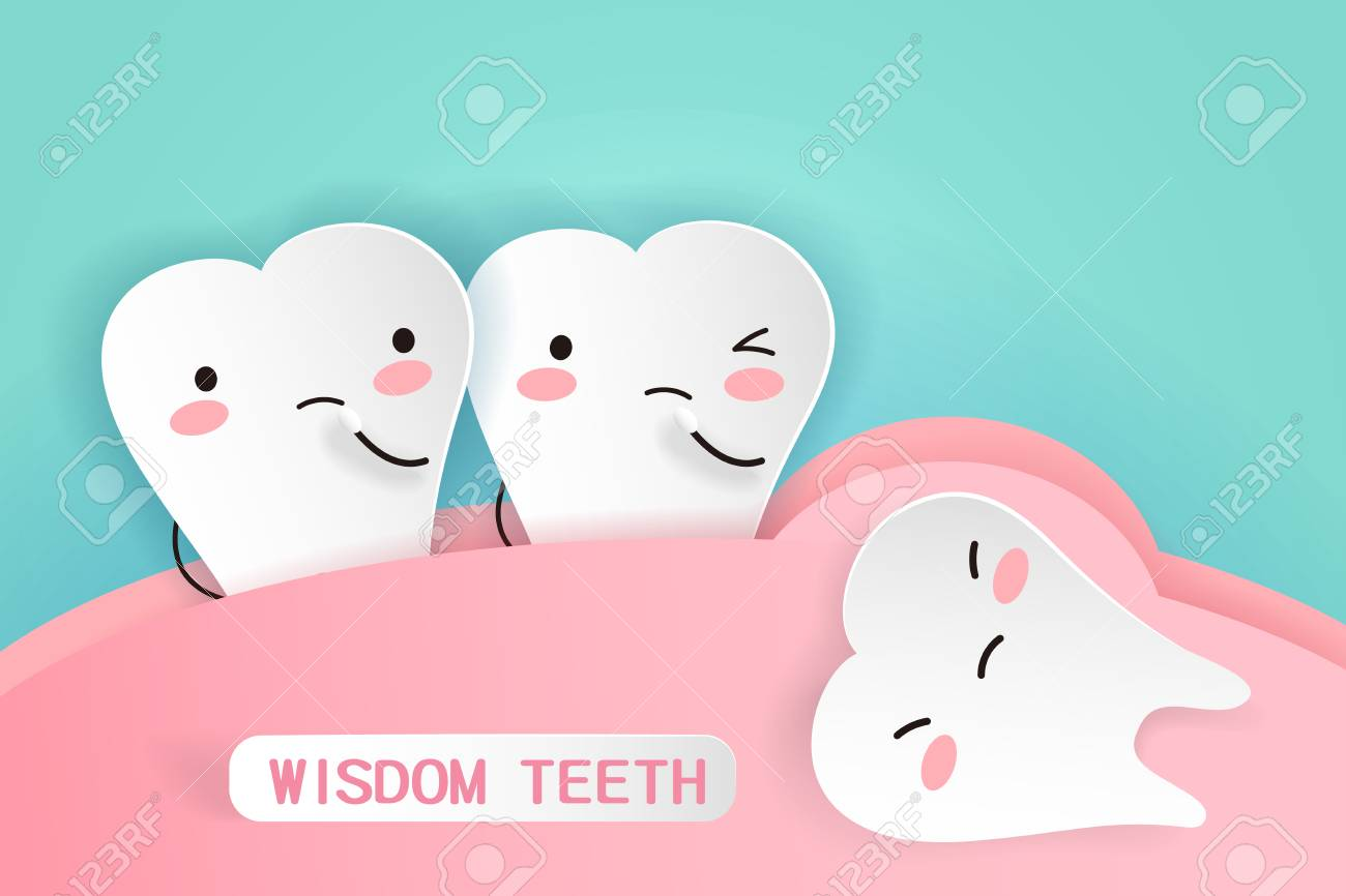 Cute cartoon wisdom teeth with health concept - 97196314
