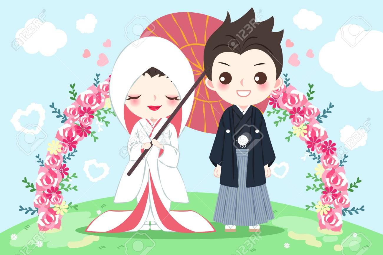 Cute Cartoon Japanese Wedding Couple On The Blue Background