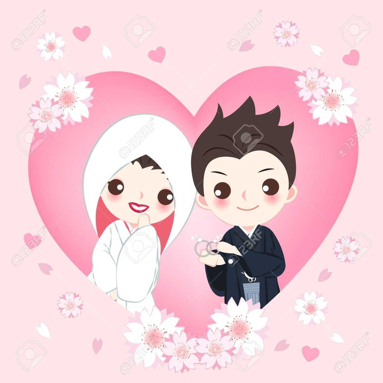 Cute Cartoon Japanese Wedding Couple On The Pink Background Royalty Free Cliparts Vectors And Stock Illustration Image 103832553