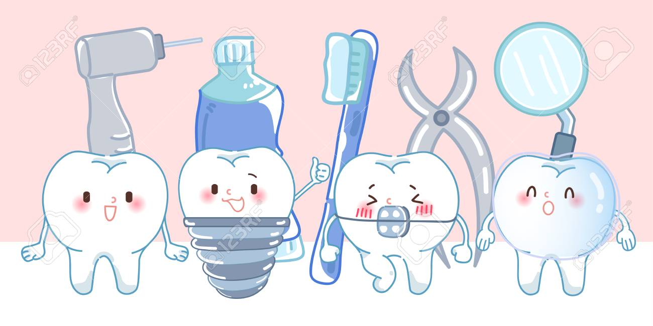 cute cartoon tooth on the pink background - 104145003