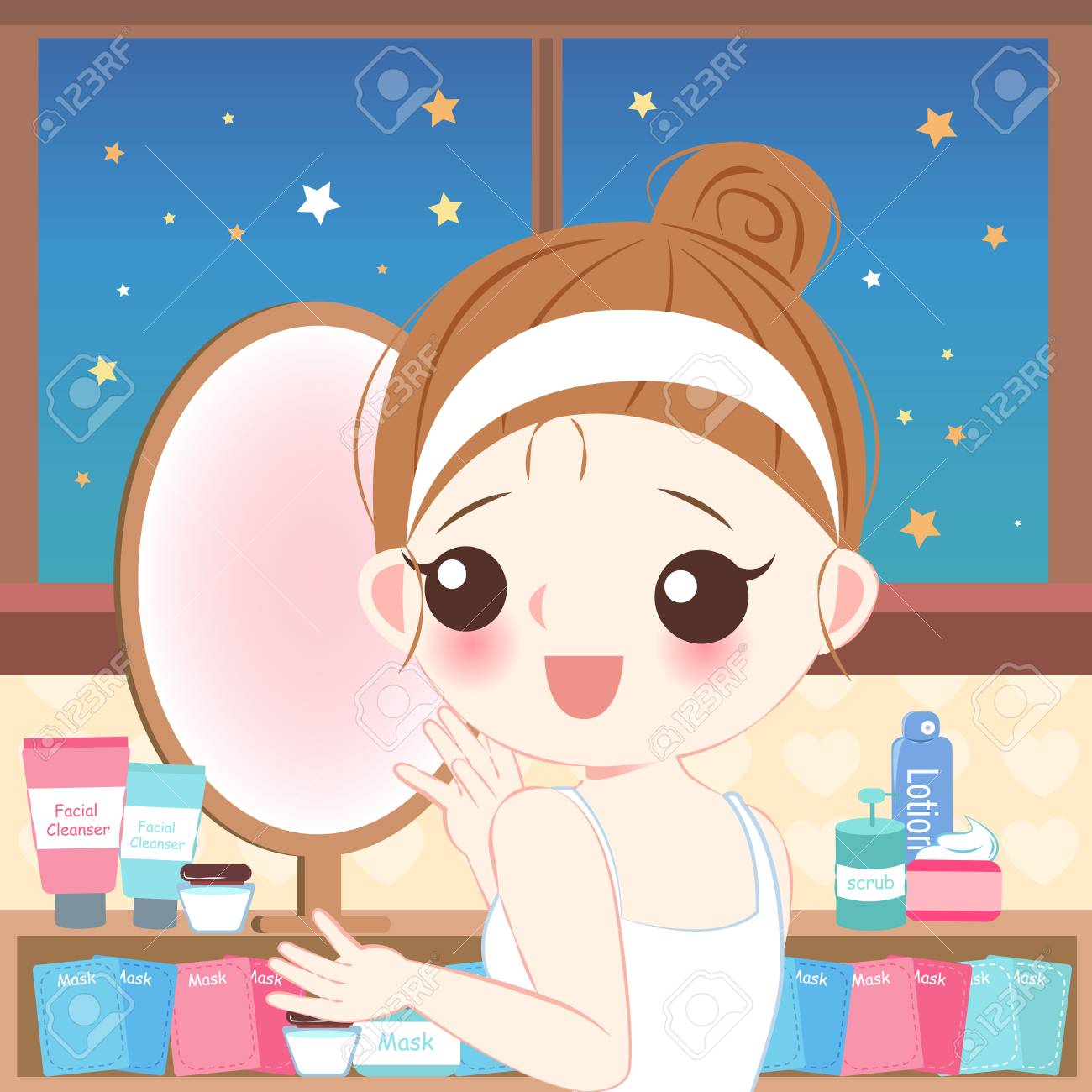 Cute Cartoon Skin Care Woman With Beauty Concept Royalty Free Cliparts Vectors And Stock Illustration Image 115089537