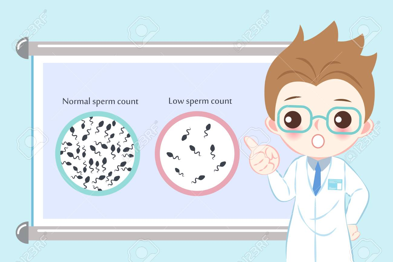 doctor with sperm count concept on the blue background - 109616562