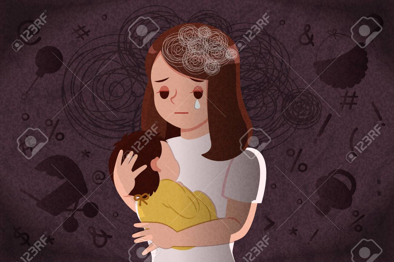 postpartum depression concept - mother feel depressed with baby with the dark background - 124481325