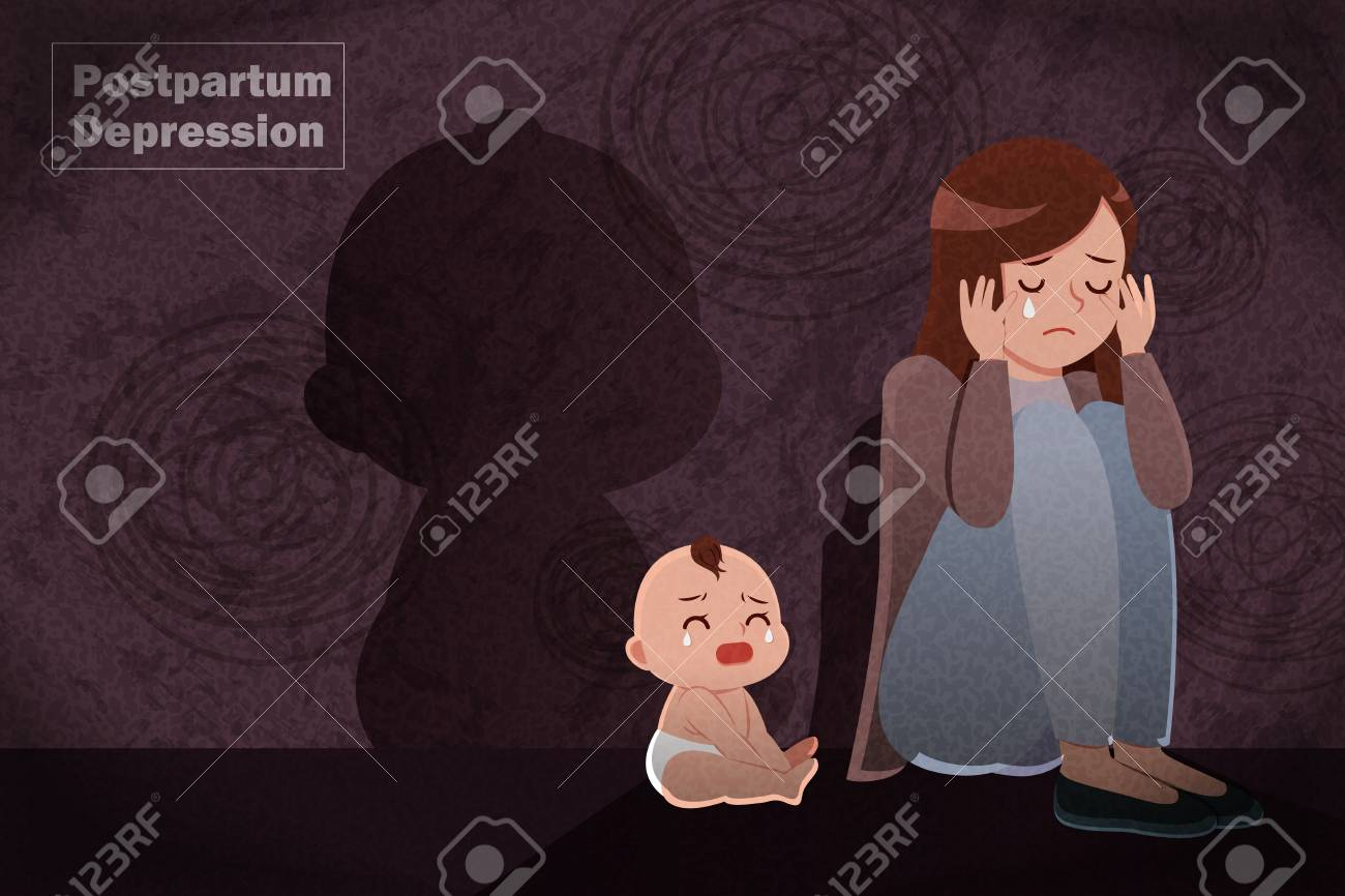 postpartum depression concept - mother feel depressed with baby with the dark background - 118779756