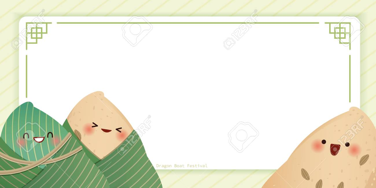 cute cartoon rice dumplings happy and smile on green background - 122784730