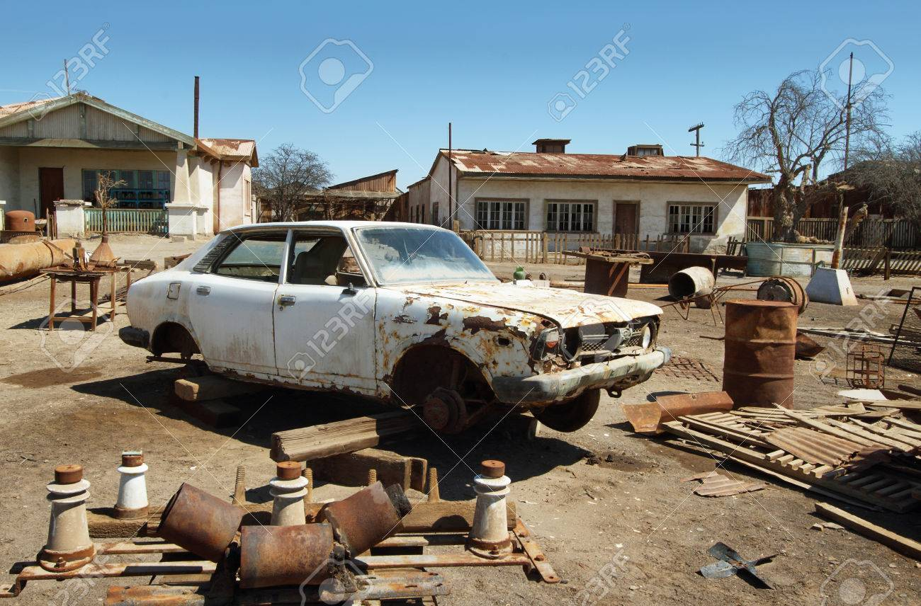 HUMBERSTONE, CHILE - APRIL 14: Ruin Of Old Car In The UNESCO.. Stock ...