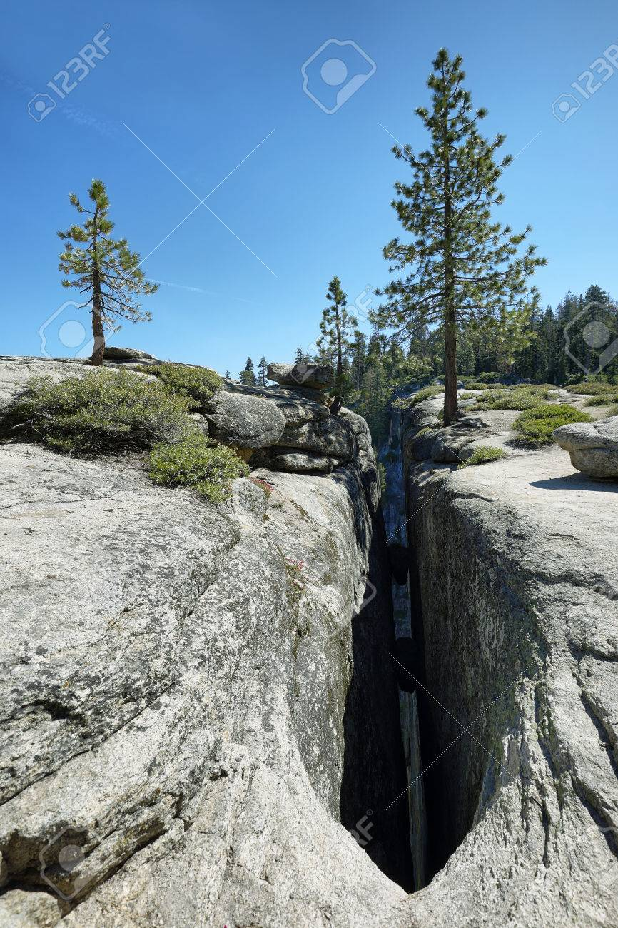Crevice in the cliff, Taft Point in Yosemite Park, California,