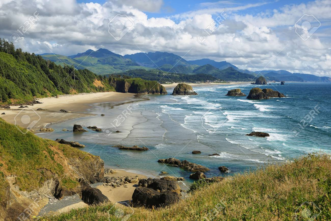 View of Cannon Beach and Indian beach in Ecola State park Oregon - 70265770