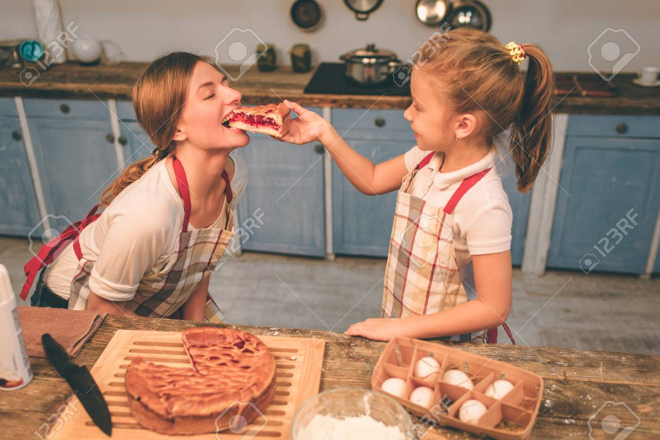 Cooking Homemade Cakes Happy Loving Family Are Preparing Bakery Together Mother And Child Daughter