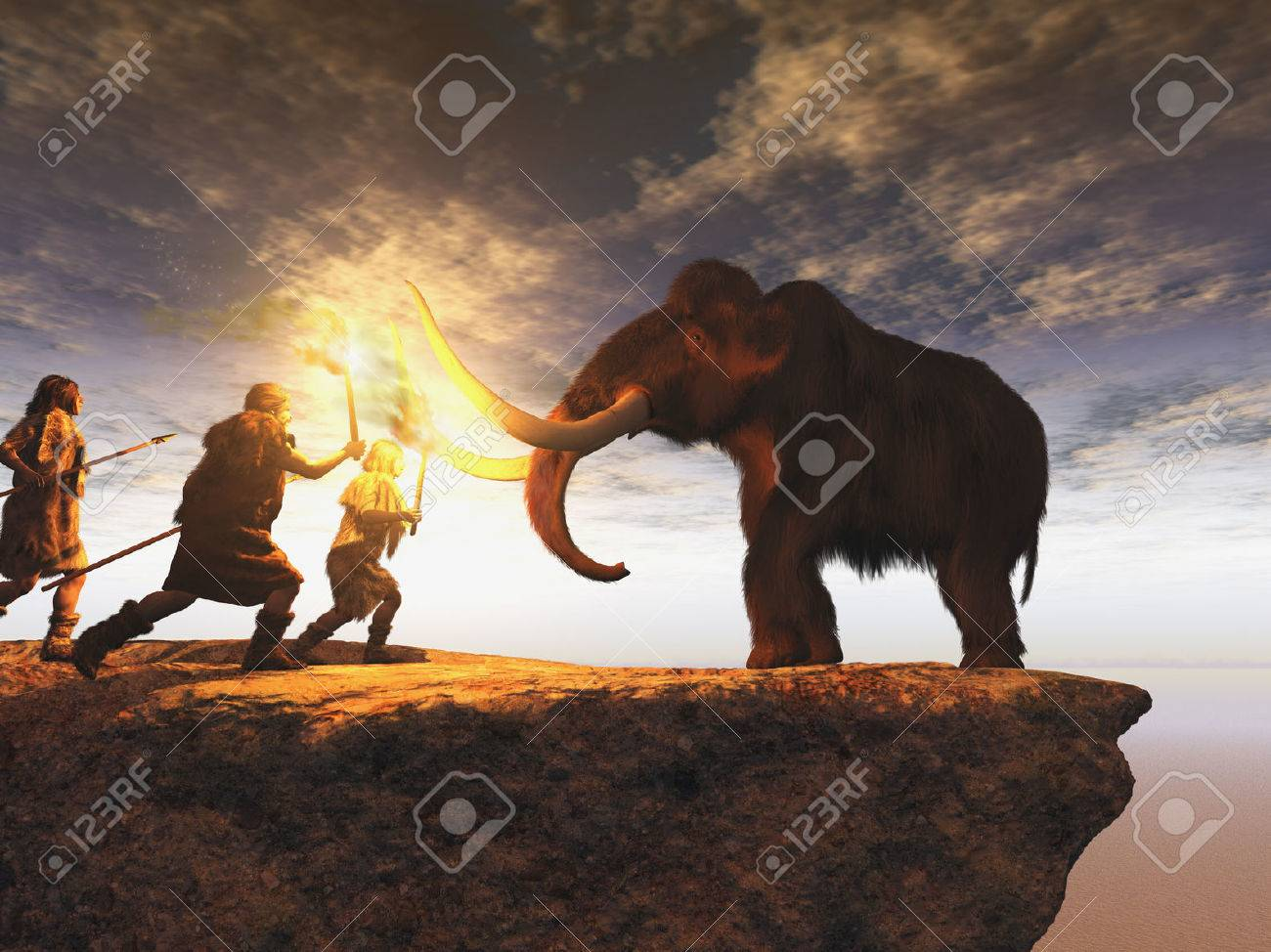 Prehistoric men hunting a young mammoth - 83913741