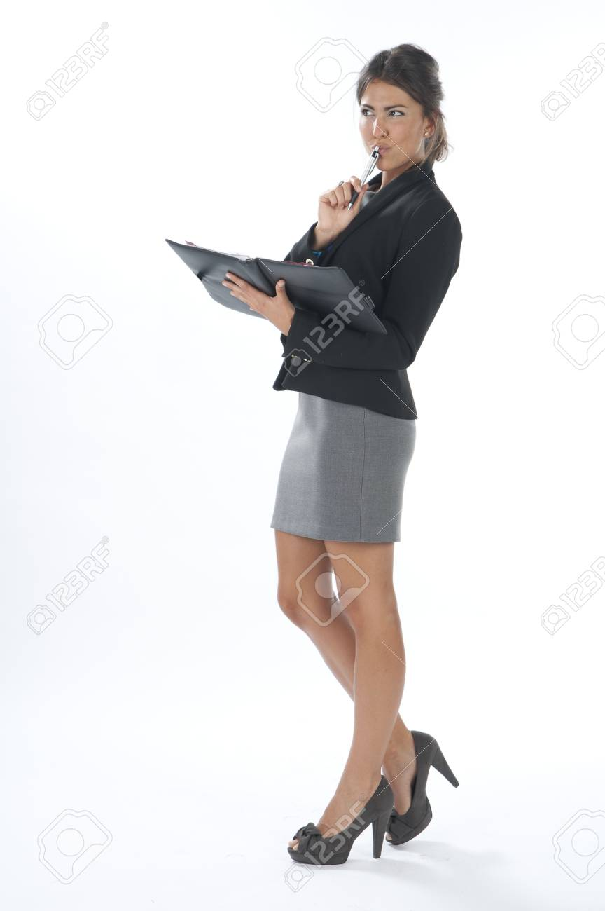 Female young business executive thinking. Stock Photo - 14429592