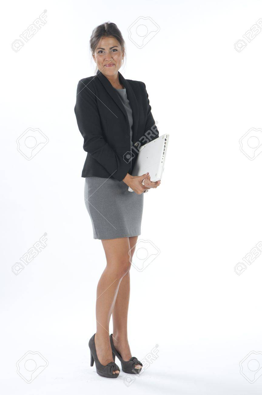 Self confident female young business executive holding laptop. Stock Photo - 14429493