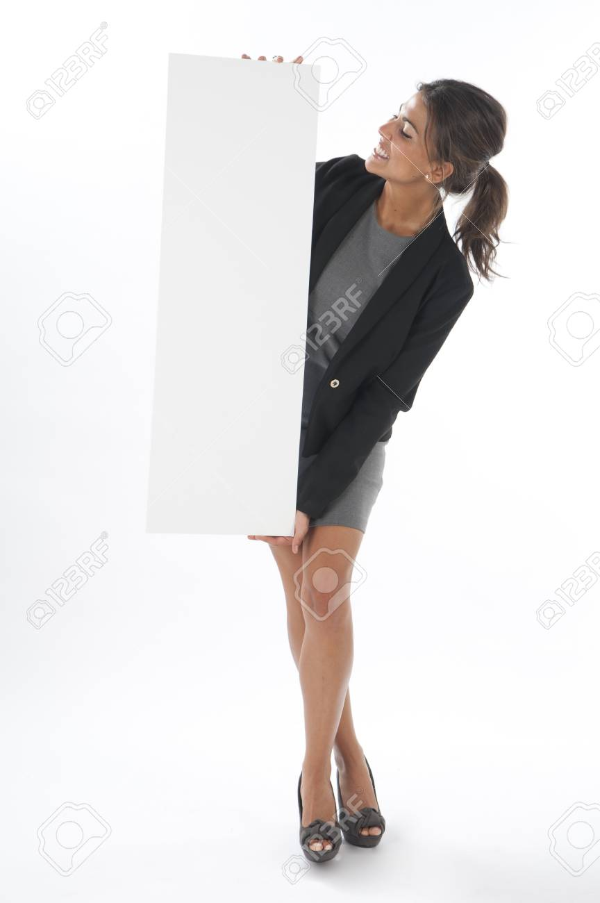 Happy young business woman, holding sign on white background. Stock Photo - 14429732