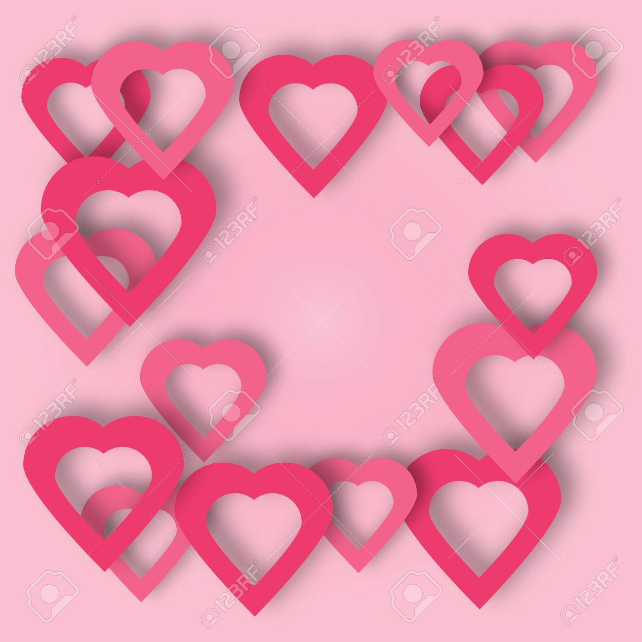 Beautiful Hearts Vector Background Or Card. Bright Pink Paper ...