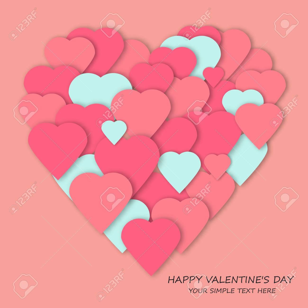 Helle Rosa Papier Herzen Vektor Hintergrund. Vector Herzen Collage In  Herzform. Hochzeit, Jubiläum
