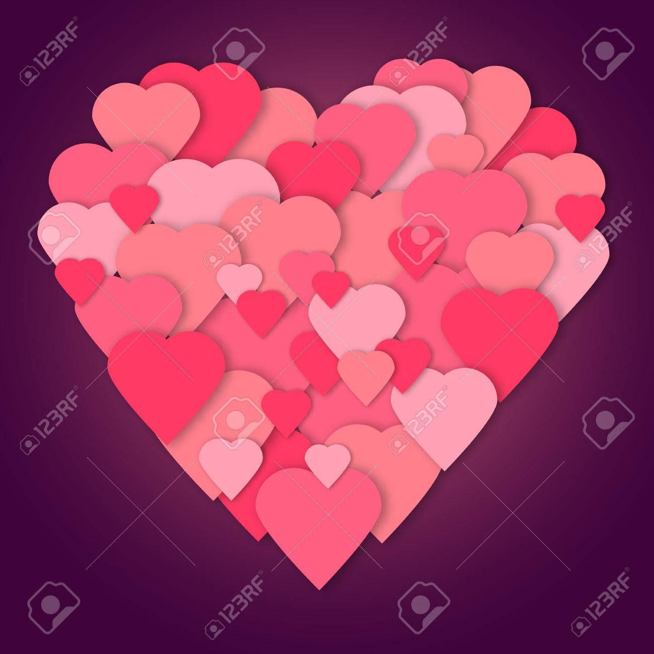 Helle Rosa Papier Herzen Vektor. Vector Herzen Collage In Herzform. Hochzeit,  Jubiläum,