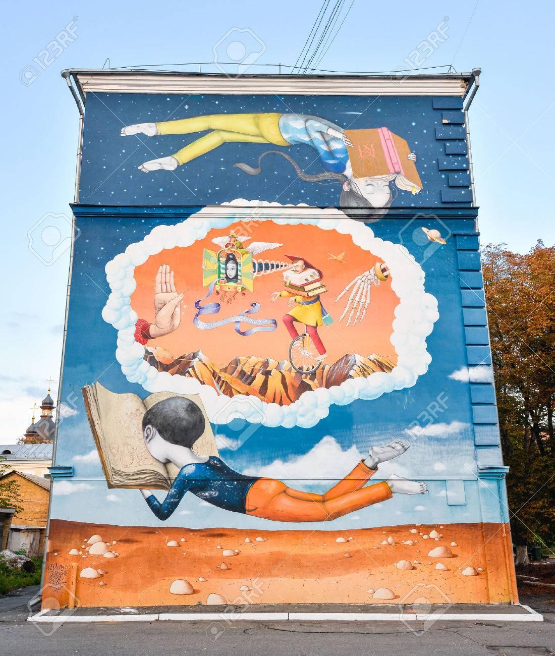 Wonderful September, 2016: Street Art Malerei Auf Einem Haus