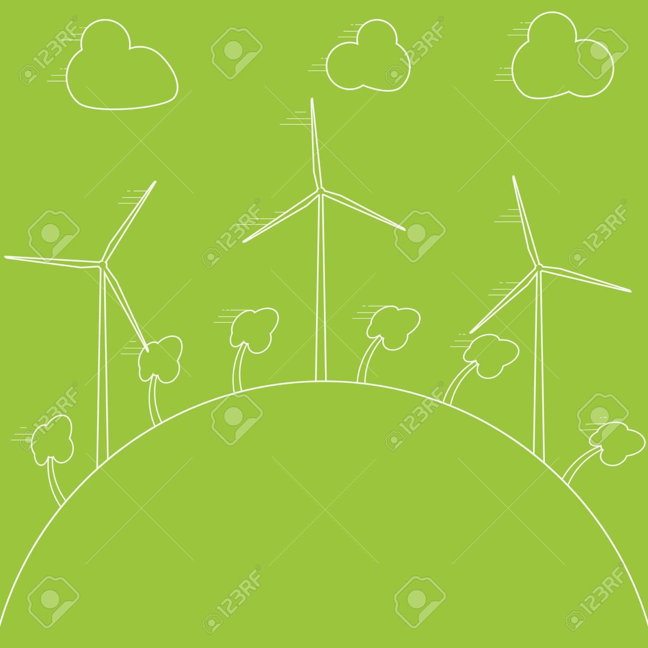 Green Eco Concept Wind Energy Generators Vector Diagram Also Power Generator Diagrams On Turbine Illustration Alternative