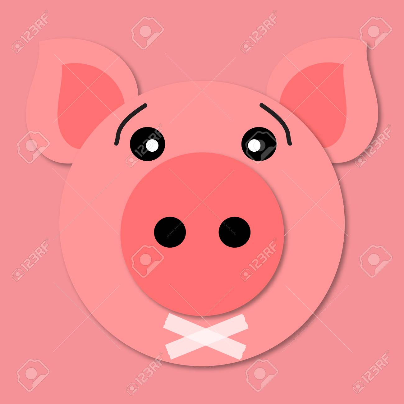 Pig Muzzle Close Up Funny And Cute Pig Face In Cartoon Style Royalty Free Cliparts Vectors And Stock Illustration Image 111938130