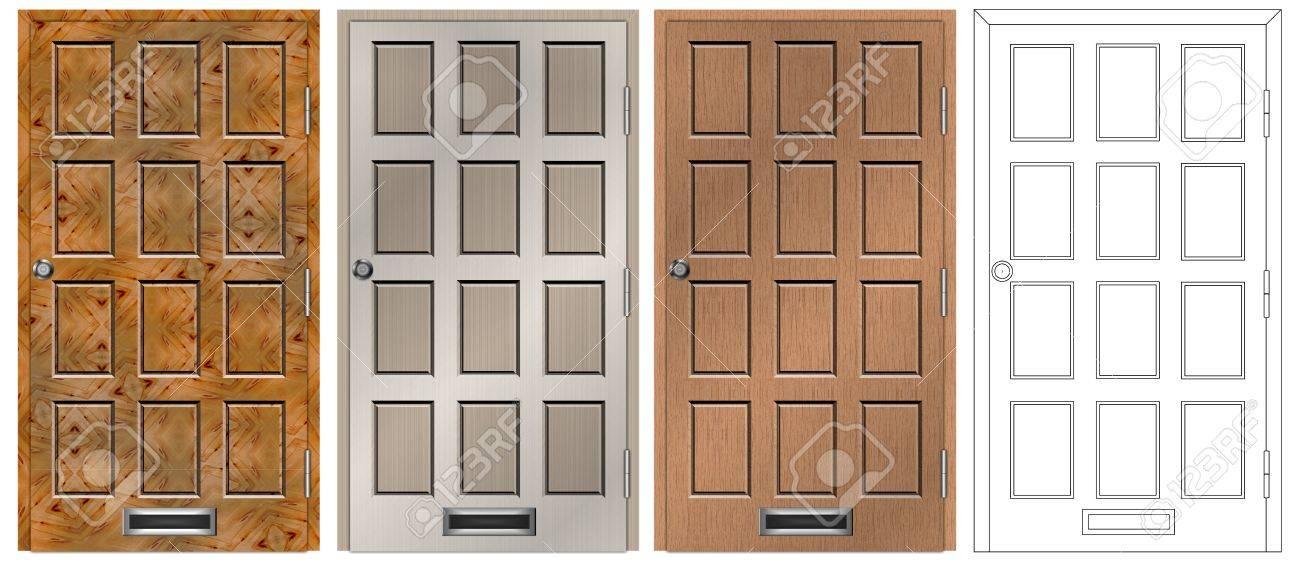 Un Conjunto De Puerta De Entrada Principal Casa En Cuatro Diferentes - Puertas-entrada-principal
