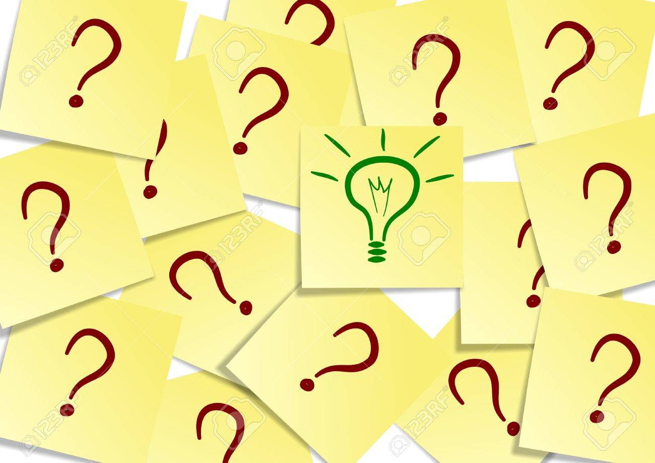 A group of yellow post it notes with a question mark and one with a green light bulb Stock Photo - 9812414