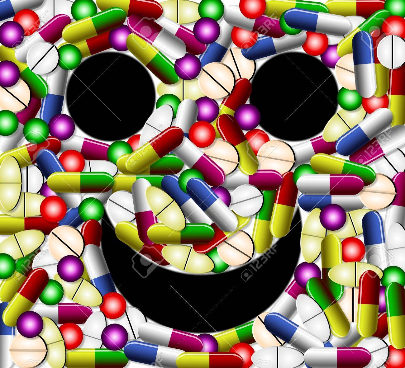Different types of tablets and pills forming smiley face Stock Photo - 9945260