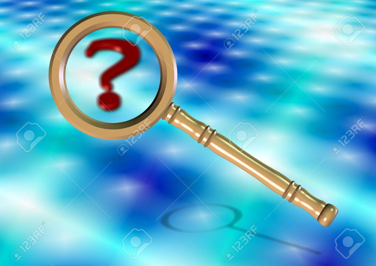 A magnifying glass and a question mark with blue background Stock Photo - 10221825