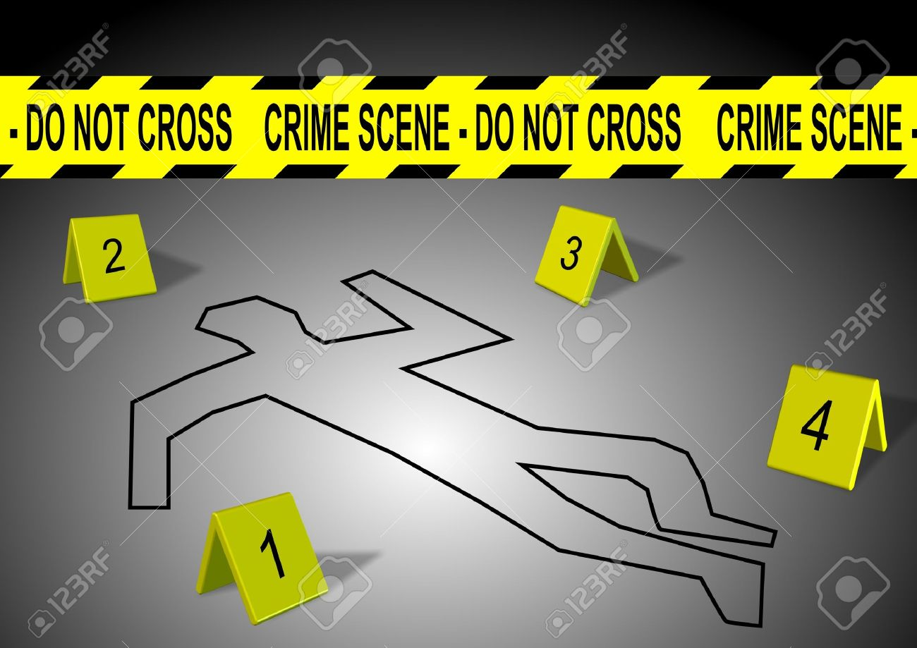 A body outline with crime scene tape and numbers Stock Photo - 10440701