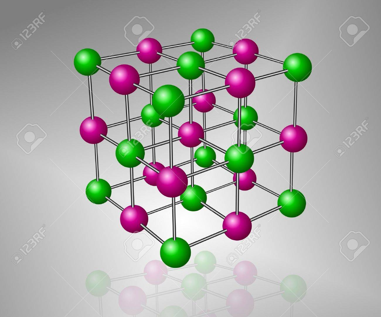 Crystalline Structure Model Of Sodium Chloride Molecule