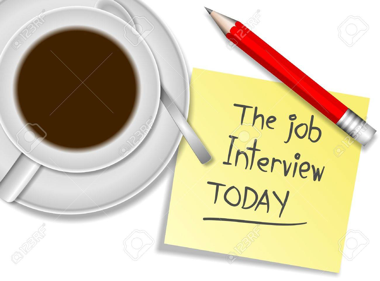 a cup of coffee a pencil and sticky note spelling the job a cup of coffee a pencil and sticky note spelling the job interview today stock