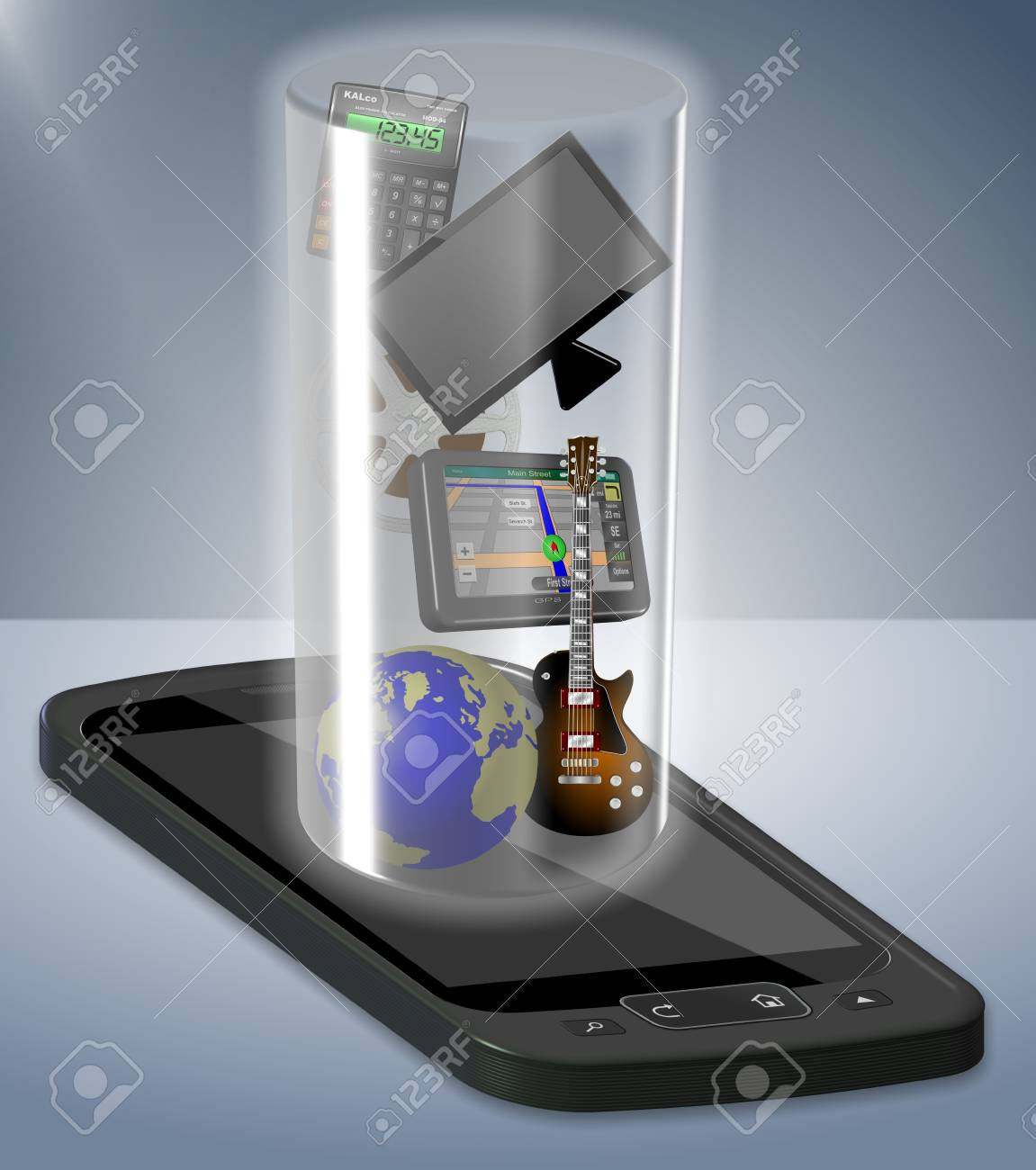 A mobile phone containing many modern technologies and ways to entertain Stock Photo - 10953026