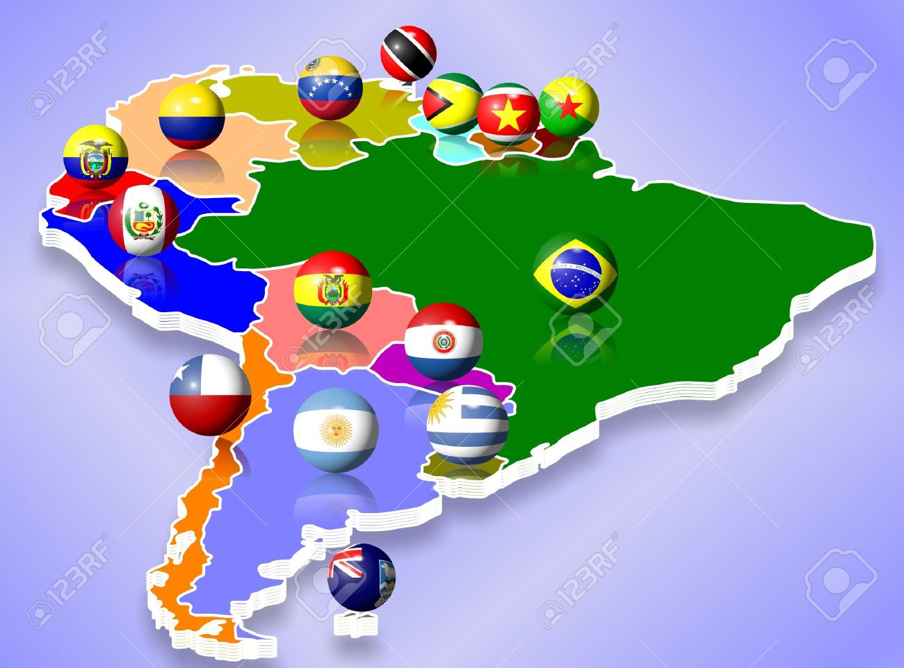 A Map Of South America And All Countries With Their Flags Shaped - Sur america map