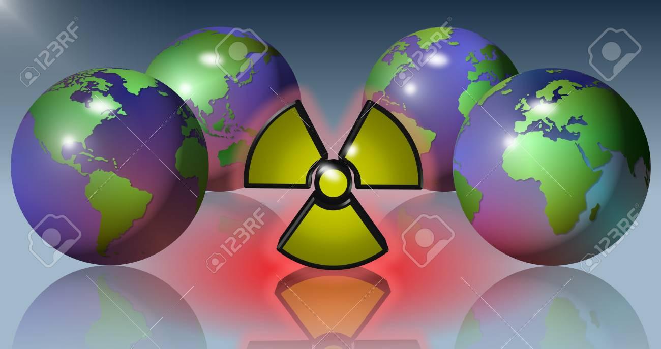 Four Earth globes surrounding a yellow radioactive symbol Stock Photo - 12179559