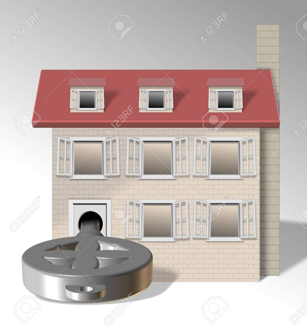an illustration of a family home with a big key in front of it Stock Photo - 13035308