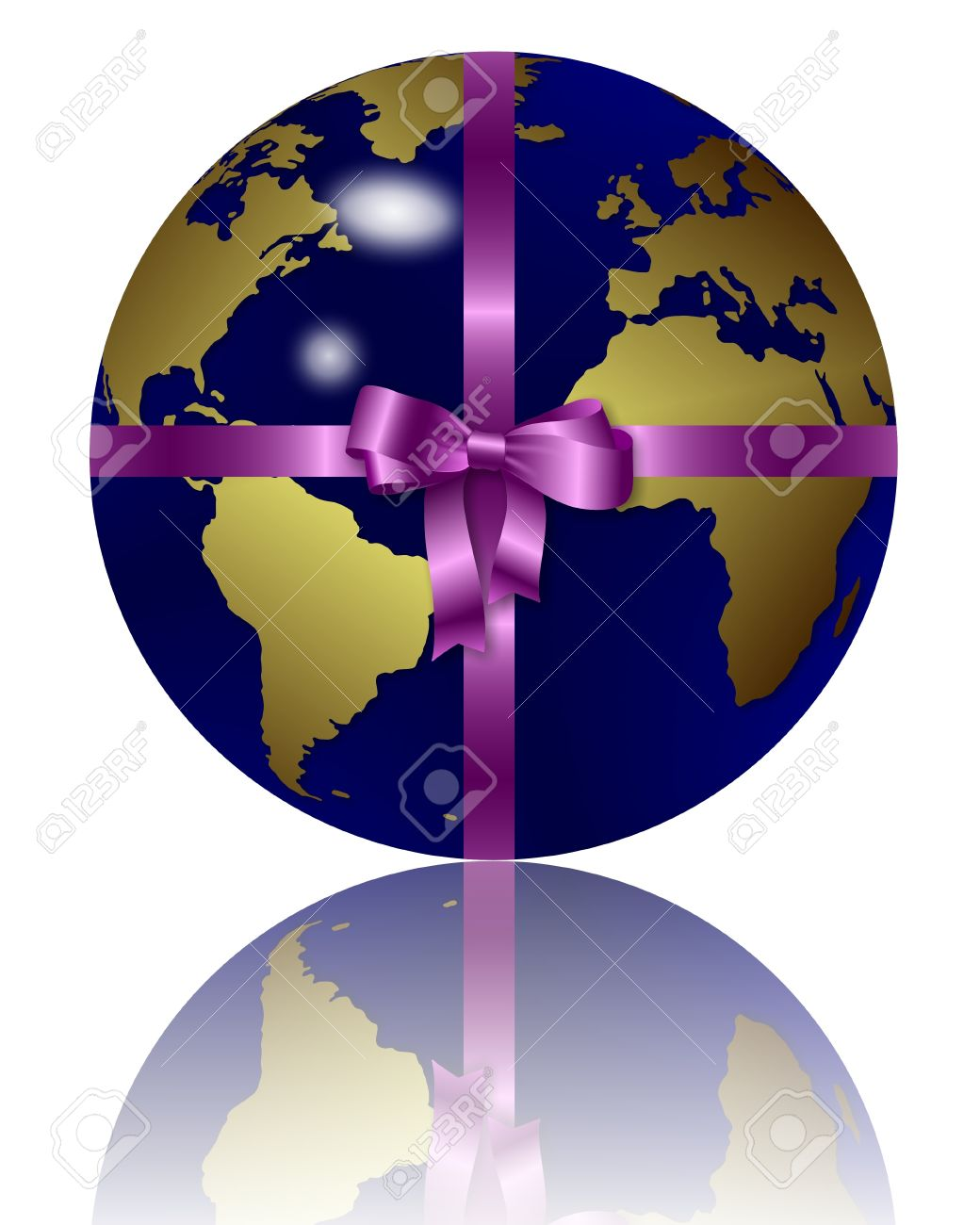 an illustration of a blue earth globe wrapped as a gift stock photo